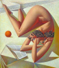Woman reading a book and an orange