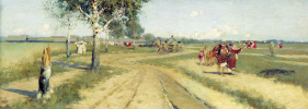"Andrei Petrovich Ryabushkin. 1886 Study for the unrealized painting ""The Return from the Fair"""
