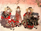 Parade of courtesans, servants under a blossoming cherry tree