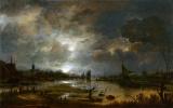 Арт ван дер Нер. Река близ города, в лунном свете
