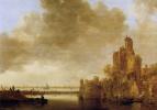 Ян ван Гойен. Речной пейзаж с башней, освещаемой солнцем