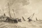 Джон Констебл. Лодки у берега в шторм, Брайтон