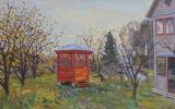 Евгений Александрович Казанцев. Autumn. Red gazebo in the garden.km.50 x 80 cm