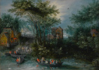 Forest landscape with peasants in a boat