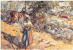 Карл Ларссон. Пастушка на лугу