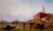 Эдвард Причетт. Гондолы на Большом канале перед дворцом Дожей, Венеция