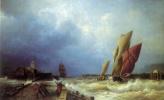 Вход рыбачьего судна в бурю в гавань Сен-Валери в Ко