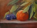 Натюрморт со сливами и персиком