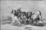 """Франсиско Гойя. Серия """"Тавромахия"""", лист 01: В давние времена испанец верхом на коне охотился на быка в диком поле"""