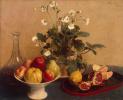 Цветы, ваза с фруктами и графин