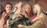 Якопо Понтормо. Встреча Марии и Елизаветы, деталь: Объятие Марии и св. Елизаветы, на заднем плане св. Анна