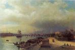 Вид на Неву и Петровскую набережную с домиком Петра I