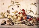 Still life with cherries, plums and sinks