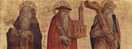 Saint Anthony The Abbot, St. Jerome, St. Andrew. Altar triptych, right wing at the base of the altar