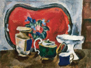 Still life with red tray