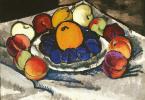 Still life. Fruits on a platter (Blue plums)