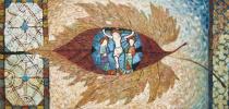 Композиция с витражами музея Клюни. Париж 73х150,5 х. м. 2013