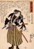 47 loyal samurai. Fuwa Kazuemon, Masatane, inspecting the blade of his sword