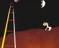 The dog howls at the moon
