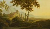 Italian lovers on a landscape background