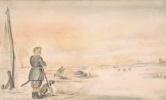 Хендрик Аверкамп. Зимний пейзаж с охотником и собакой