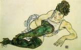 Эгон Шиле. Лежащая женщина в зеленых чулках