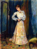 The woman, combing the skirt