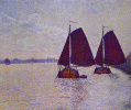 Barges on the river Scheldt