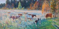 Autumn evening.the herd