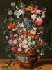 Большой букет из лилий, ирисов, тюльпанов, орхидей и пионов в вазе, декорированной изображениями Амфитриты и Цереры