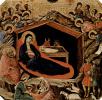 Маэста, алтарь сиенского кафедрального собора, передняя сторона, пределла со сценами из детства Иисуса и пророками, Рождество Хр