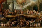 Frans Franken the Younger. A person makes a choice between Virtue and Sin
