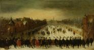 Вийверберг зимой с принцем Мауритцем и его свитой на переднем плане