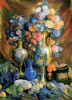 Still life. Vases, flowers and fruit