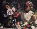 Negress with peonies