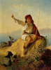 Неаполитанский пастушок на берегу моря, освещенный восходящим солнцем
