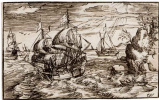 Seascape with three sailing vessels