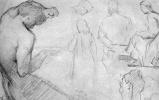 Жорж Сёра. Лист этюдов с фигурой давящего виноград сатира и другими фигурами