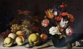 Балтазар ван дер Аст. Натюрморт с цветами в вазе, раковинами и фруктами