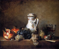 Still life with porcelain jug, pomegranate and grapes