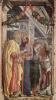 Алтарь церкви Сан Дзено в Вероне, триптих, левая доска. Апостолы Петр и Павел, евангелист Иоанн, св. Зенон