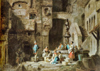 Karl Spitzweg. Washerwomen by a fountain