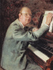 """Portrait of the composer Sergei Prokofiev at work on the Opera """"War and peace"""""""