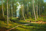 """Saveliy Kamsky. A copy of Ivan Shishkin's painting """"A stream in a birch forest"""""""