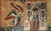Пьетро Каваллини. Цикл мозаик с шестью сценами из Жизни Марии в церкви Санта Мария в Трастеверде в Риме, сцена: Благовещение