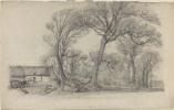 Эжен Буден. Пейзаж с деревьями, коттедж и телега