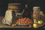 Луис Мелендес. Натюрморт с тарелкой вишен, фруктами и сыром
