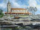 Tide. View of the Church of Santa Maria. Luanco