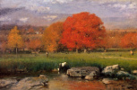 George Inness. Morning Catskill valley the Red oaks or