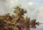 Саломон ван Рейсдал. Речной пейзаж с паромом